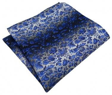TigerTie Designer Einstecktuch in marine royal blau silber geblümt gemustert