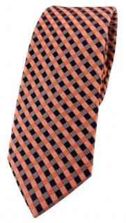 schmale TigerTie Seidenkrawatte in orange lachs royal grau kariert - 100% Seide