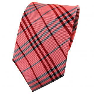 TigerTie Seidenkrawatte rot silber anthrazit kariert - Krawatte Seide Tie