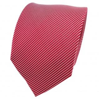 TigerTie Seidenkrawatte rot signalrot silber gestreift - Krawatte Seide Silk