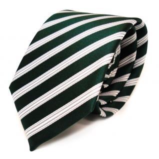 TigerTie Seidenkrawatte grün dunkelgrün weiss silber gestreift - Krawatte Seide