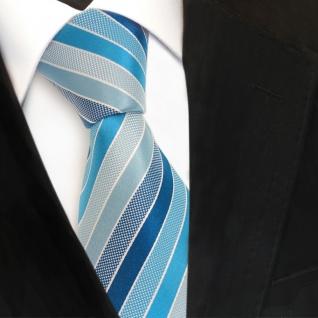 TigerTie Designer Seidenkrawatte türkis mint lichtgrün silber gestreift Krawatte