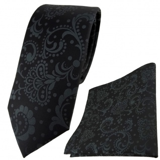 schmale TigerTie Krawatte + Einstecktuch in schwarz anthrazit gemustert