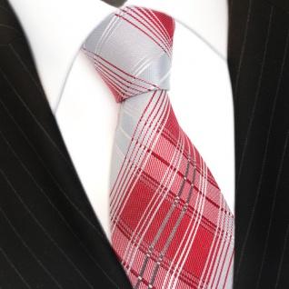 Designer Seidenkrawatte in rot grau silber weiss kariert - Krawatte 100 % Seide - Vorschau 3