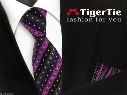 schöne TigerTie Krawatte + Einstecktuch lila schwarz anthrazit silber gestreift