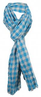 gecrashter Schal in blau türkis grau kariert mit Fransen - Gr. 180 x 50 cm