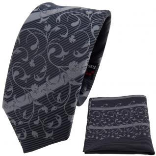 schmale TigerTie Krawatte + Einstecktuch anthrazit grau dunkelgrau gestreift - Vorschau