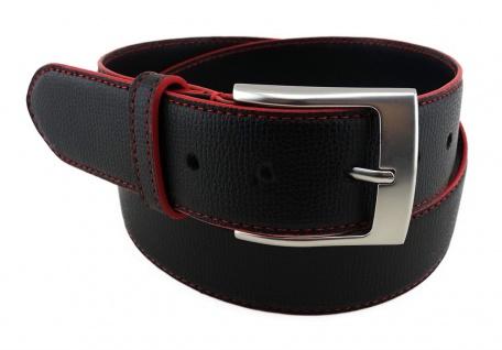 TigerTie Rindsledergürtel bombiert schwarz rote Kantenfärbung - Bundweite 90 cm