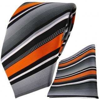 TigerTie Designer Krawatte + Einstecktuch in orange silber grau weiss gestreift
