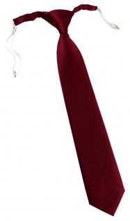 TigerTie Designer Security Sicherheits Krawatte in bordeaux Uni mit Gummizug