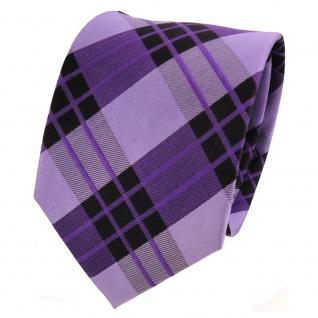 TigerTie Designer Seidenkrawatte lila violett schwarz kariert - Krawatte Seide