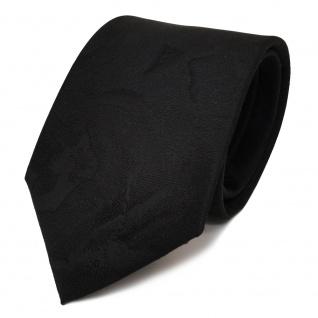 Schöne Designer Krawatte schwarz Uni gemustert - Schlips Binder Tie