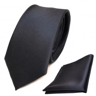 schmale TigerTie Schlips Krawatte + Einstecktuch anthrazit grau uni Binder