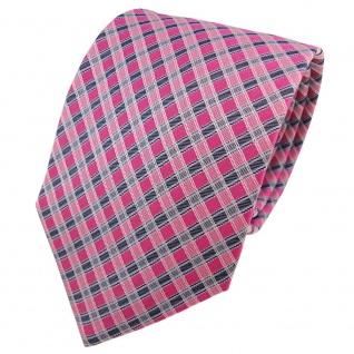 Designer Seidenkrawatte pink rosa silber blau anthrazit kariert - Krawatte Seide