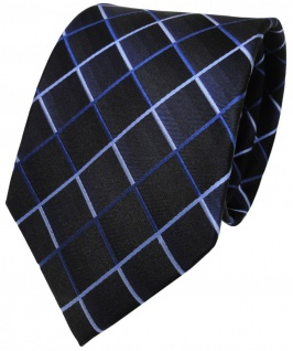 TigerTie Designer Seidenkrawatte blau dunkelblau royal kariert - Krawatte Seide