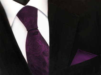 Set Seidenkrawatte + Einstecktuch violett gemustert - Krawatte + Tuch 100% Seide