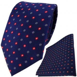 TigerTie Krawatte + Einstecktuch marine dunkelblau rot silber gepunktet