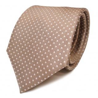 TigerTie Designer Seidenkrawatte beige weiss gepunktet - Krawatte Seide Binder