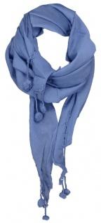 Damen Halstuch Dreieckstuch jeansblau Uni Gr. 160 x 75 cm - Tuch Schal Baumwolle