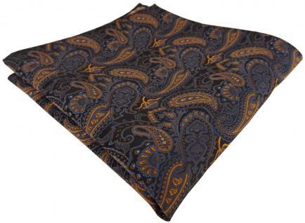 TigerTie Einstecktuch in braun bronze gold blau schwarz Paisley gemustert