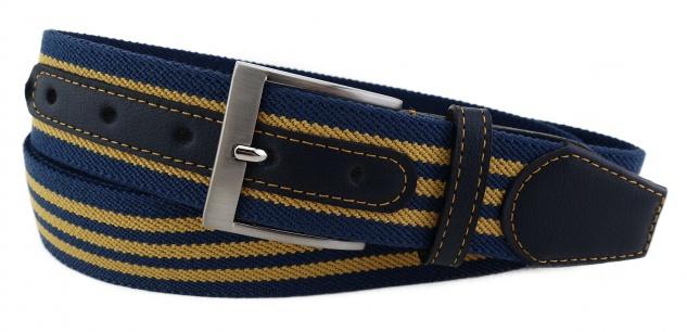 TigerTie - Stretchgürtel gelb ocker dunkelblau gestreift - Bundweite 100 cm