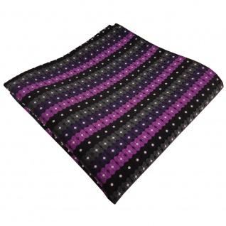 TigerTie Einstecktuch lila schwarz anthrazit silber gestreift - 100% Polyester