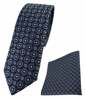 schmale TigerTie Krawatte + Einstecktuch anthrazit rosa silber schwarz gemustert