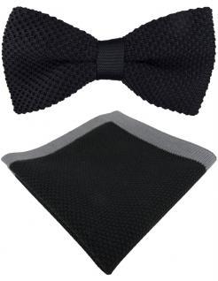hochwertige TigerTie Strickfliege + Einstecktuch in schwarz grau Uni + Box