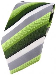 TigerTie Designer Krawatte in grün dunkelgrün grau weiss gestreift - Tie Binder