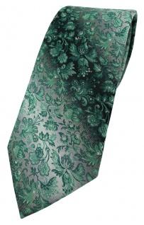 TigerTie Designer Krawatte in grün anthrazit grausilber geblümt gemustert - Vorschau 1