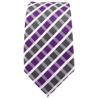 Schmale TigerTie Krawatte violett grau silber weiss gestreift - Schlips Binder - Vorschau 2