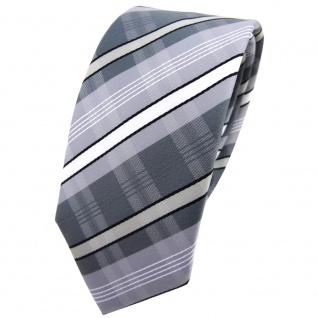Schmale TigerTie Krawatte silber grau anthrazit weiß schwarz gestreift - Binder