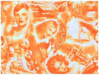 Multifunktionstuch orange weiss Motive -Tuch - Schal - Schlauchtuch - Wundertuch