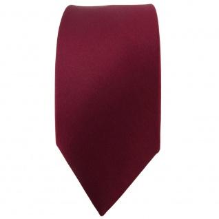 schmale TigerTie Satin Seidenkrawatte bordeaux einfarbig - Krawatte 100% Seide - Vorschau 2