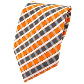 TigerTie Designer Krawatte in orange grau silber weiss gestreift - Tie Binder