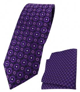 schmale TigerTie Krawatte + Einstecktuch violett rosa silber schwarz gemustert