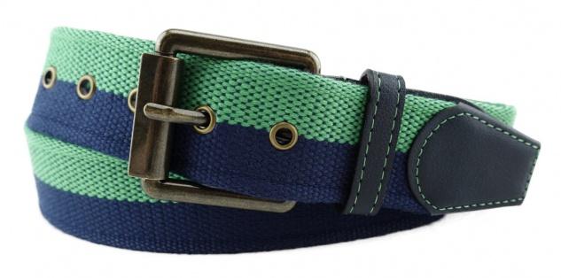 TigerTie - Stoffgürtel in grün dunkelblau marine zweifarbig - Bundweite 100 cm