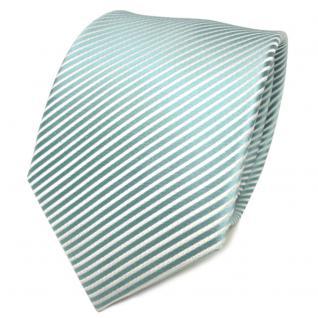 TigerTie Designer Seidenkrawatte mint grün weiß gestreift - Krawatte Seide Tie