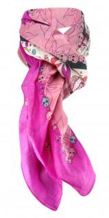 Halstuch violett rosa türkis blau rot weissgrau mit Totenkopfmotiven gemustert - Vorschau
