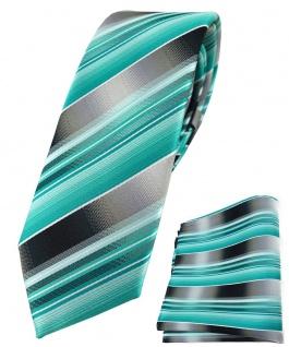 schmale TigerTie Krawatte + Einstecktuch in mint grün silber anthrazit gestreift