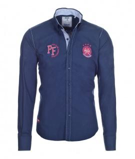 Pontto Designer Hemd Shirt in blau marine rot weiß langarm Modern-Fit Gr. M