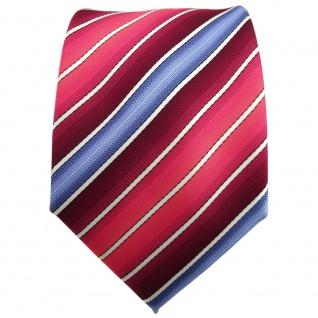 TigerTie Krawatte rot bordeaux rosé blau creme gestreift - Tie Binder - Vorschau 2