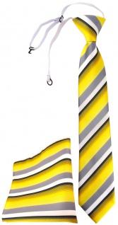 TigerTie Sicherheits Krawatte + Einstecktuch gelb grau weiss schwarz gestreift