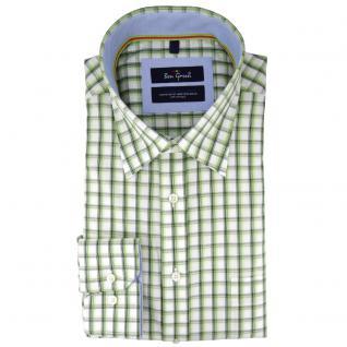 Ben Green Herrenhemd grün weiß kariert langarm bügelleicht - Hemd Gr.39/40 M