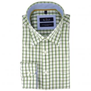 Ben Green Herrenhemd grün weiß kariert langarm bügelleicht - Hemd Gr.41/42 L