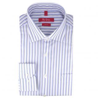 Ben Green Herrenhemd blau weiß bügelfrei langarm - New-Kent-Kragen Hemd Gr.42