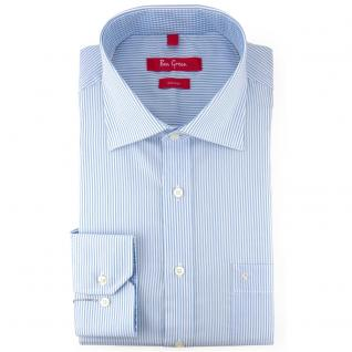 Ben Green Herrenhemd blau weiß langarm bügelfrei - New-Kent-Kragen Hemd Gr.41
