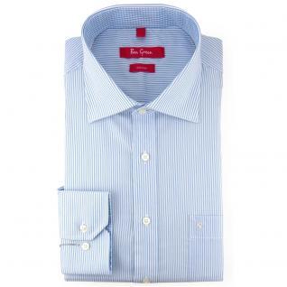 Ben Green Herrenhemd blau weiß langarm bügelfrei - New-Kent-Kragen Hemd Gr.44