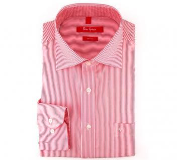 Ben Green Herrenhemd rot weiß langarm bügelfrei - New-Kent-Kragen Hemd Gr.40