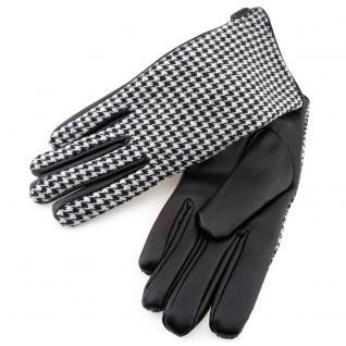 Kinder Handschuhe schwarz weiß gemustert - Größe M - Handschuhe Kunstleder